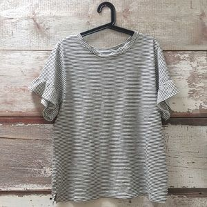 striped t-shirt with ruffled sleeves // Old Navy
